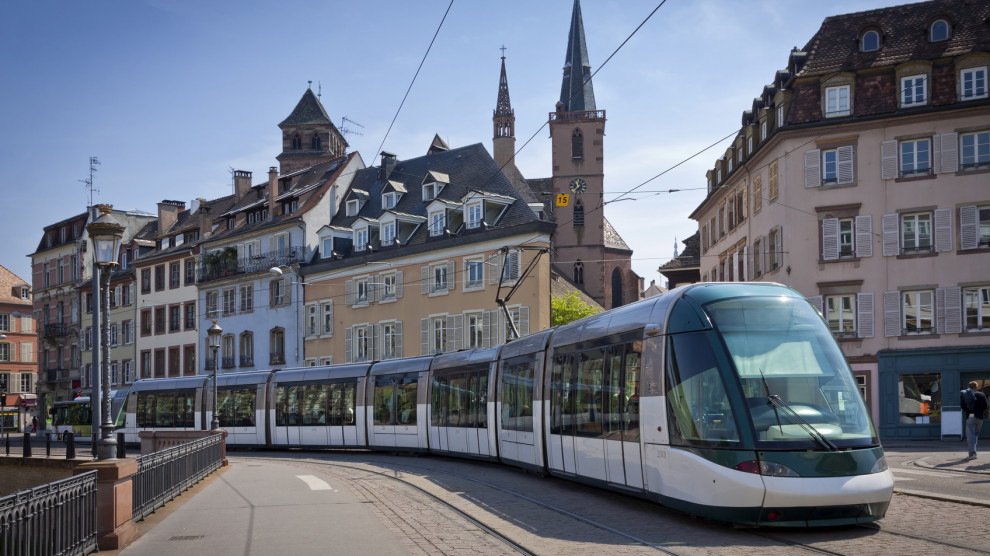 Modern tram on the streets of Strasbourg city, France